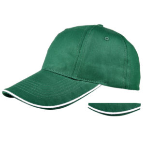 Cotton baseball cap with tape piping bill