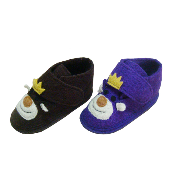 Boiled Wool House Shoes For Kids With Velcro Everlight