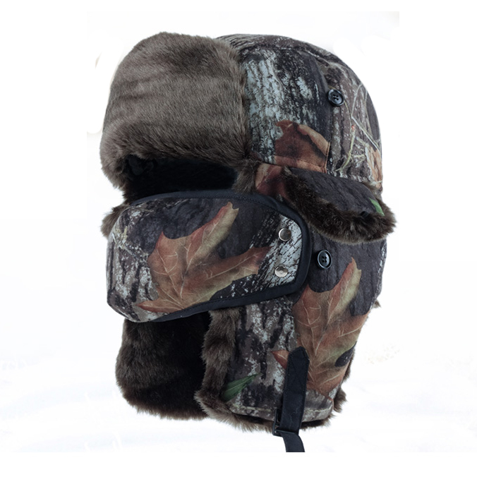 Winter Camo Hunting Trapper Cap Trooper Faux Fur Hat ...